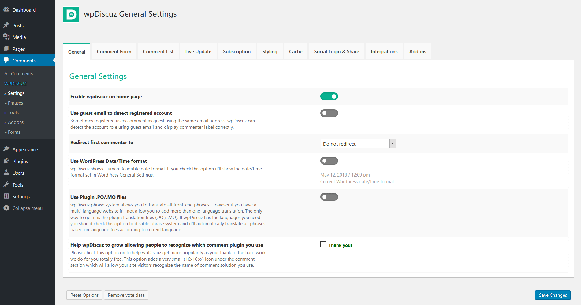 General Settings - wpDiscuz - WordPress Comment Plugin