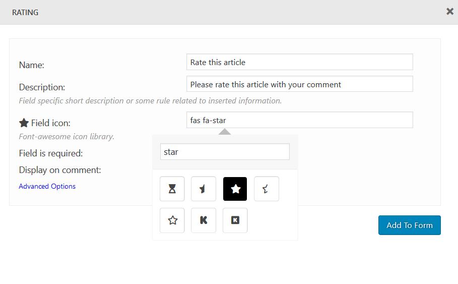 Custom Field - Rating - wpDiscuz - WordPress Comment Plugin