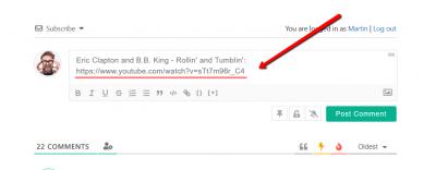 wpDiscuz Embeds insert youtube URL in editor