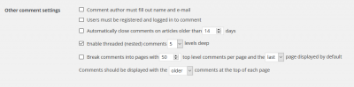Comment display settings